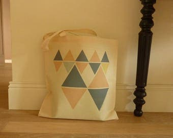 Bag Tote bag with triangular geometric pattern 100% cotton