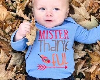 Mister Thankful Bodysuit // Mister Thankful // 1st Thanksgiving // Baby's First Thanksgiving // Boy's Thanksgiving Shirt