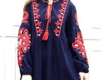 Women maxi dress, cotton embroidered dress, boho hippie maxi dress, loose dress, vintage dress,Mexican dress, navy, red, one size, free size