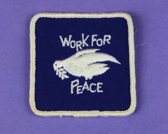 Work for Peace Dove Vintage 1970s NOS Patch
