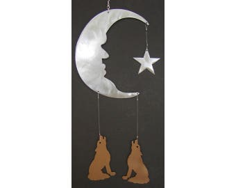 Moon Star Howling Wolf Hanging Mobile Metal Wind Catcher Chime