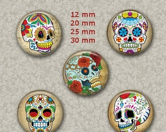 80%  off Graphics Sale Sugar Skull Jewelry Dia de los Muertos 1 Inch Circle Digital Collage Bottle Cap Jewelry Images Necklace, Magnets, Sti