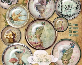 80 % off Graphics SaLe Shabby Chic Marie Antoinette Digital Collage Sheet 12 mm, 20 mm, 25 mm, 1 inch, 30 mm Round Images for Jewelry Making