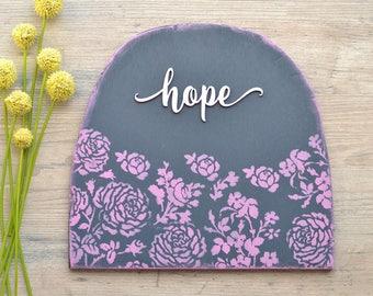 Navy Blue and Lavender Hope Wood Sign. Floral Spring Sign.