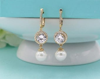SALE Ends Monday Pearl Earrings Gold, Gold Halo Pearl Earrings, Gold Lever Back Earrings, Wedding Earrings Pearl, Pearl CZ Earrings 51526203