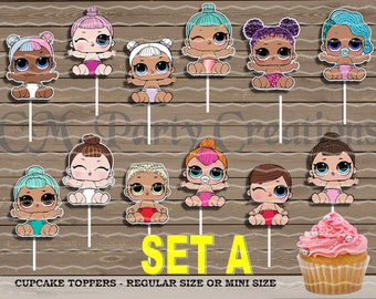 LOL Surprise Sister Dolls Cupcake Toppers, Die Cuts, Birthday Party Cupcake Toppers, FAST TURNAROUND