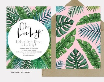 Oh Baby Pink - Tropical Baby Shower Invitation | Fern and Palm Baby Shower Printable Invitation | Personalised 105 x 148