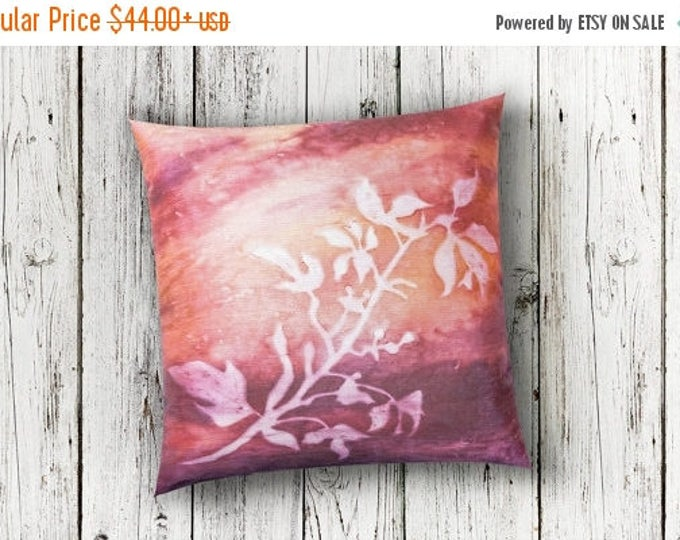 SALE Coral Botanical Throw Pillow Cover 18x18-Watercolor Silk Pillow-Cottage Decor-Rustic Decor-Gift
