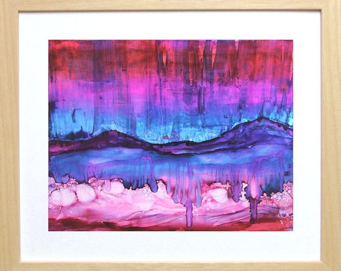 Aurora Borealis Art-Mountain Art-Southwestern Decor-Alcohol Ink Painting-Unique Gift-Original Wall Art-Home Decor Gift-Watercolor Home Decor