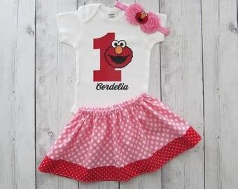 Elmo First Birthday Outfit for baby girl - elmo 1 shirt, pink red elmo, elmo first birthday pink, elmo birthday outfit girl, elmo birthday