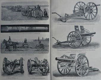 Cannons for the beginning of 20th.  Old book plate,1901.  116 years lithograph. 12'3 x 9'8  inches.