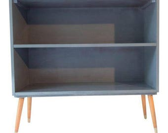 Paul McCobb for Planner Group Hardwood Bookcase 36 x 12 x 35H Midcentury Modern, Painted Blue/Gray
