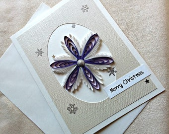 handmade paper quilled Christmas card -  Merry Christmas snowflake