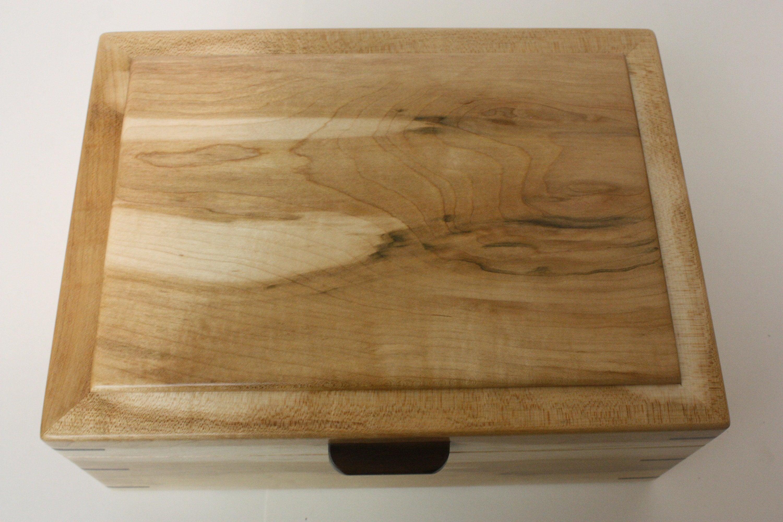 Large Maple Wood Box with Black Walnut