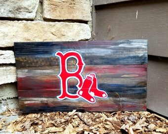 Rustic Wooden Boston Red Sox Sign