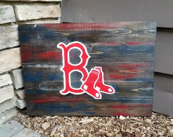 Wooden Boston Red Sox Sign - Red Sox Decor - Wooden Baseball Sign