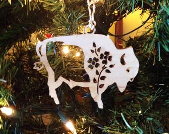 Bison and Bloom Birchwood Ornament