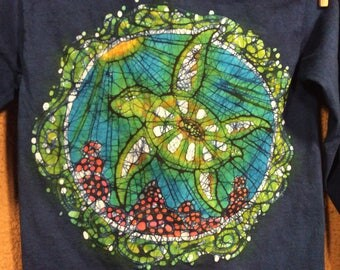 Original Design Batik Sea Turtle Art Quilt Wall Hanging