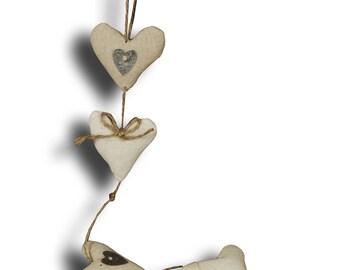 Garland of hearts fabric length 60 cm