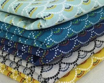 "Set of 5 fabric patchwork ""KOI"" 45 x 50 cm"