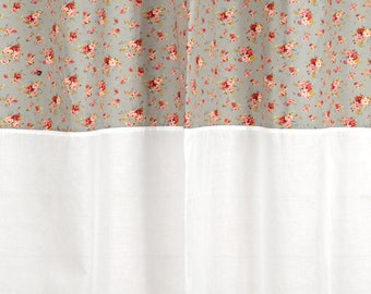 """Curtain """"Country grey"""" 150 X 250 with lace and sheer white"""