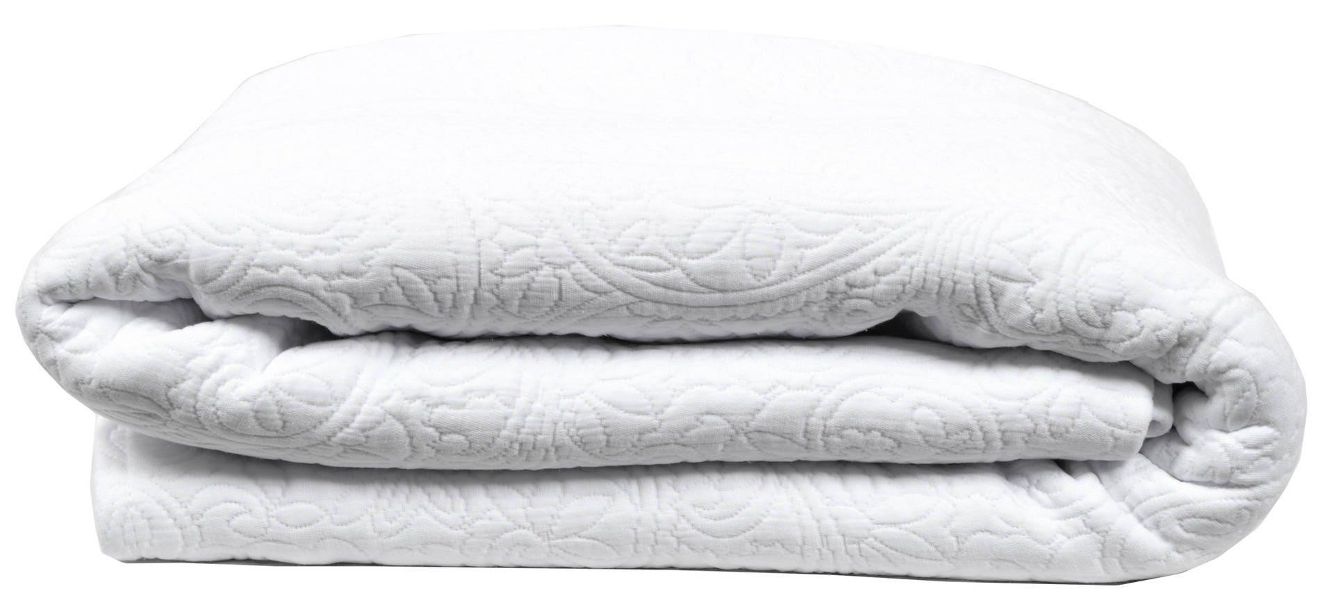 jet de lit 240x260 tissu damass blanc. Black Bedroom Furniture Sets. Home Design Ideas
