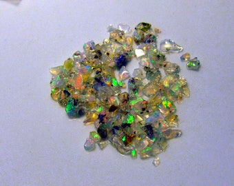 Ethiopian welo opal play fire white translucent raw rough small TINY 3-5 mm stones