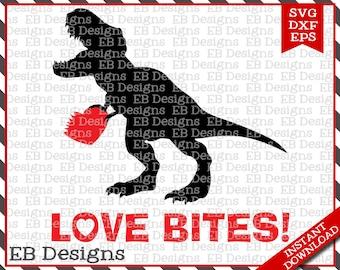 Love Bites Dino Valentine Cut File (SVG, EPS and DXF)