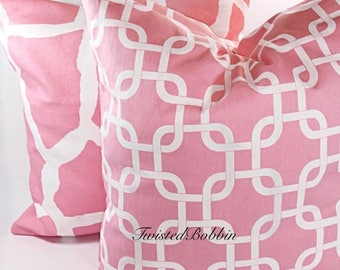 SALE Pillow cover .Baby Pink and white pillow cover.18x18.set of two Designer pillow. pink cushion cover.giraffe . chainlink.Pink cushion co
