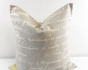 SALE Penmanship Pillow Cover. Reed Natural. Brown Cushion Covers.Pillow Case.1 piece. cotton.Select your size