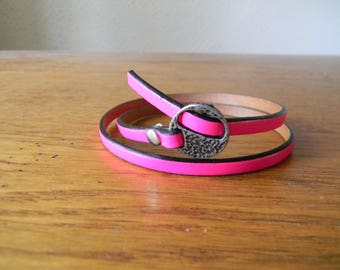 Bracelet leather pink neon from silver clasp