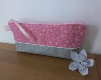 Waterproof DuoTrousse and pale pink floral pencil holder-monnaiepour