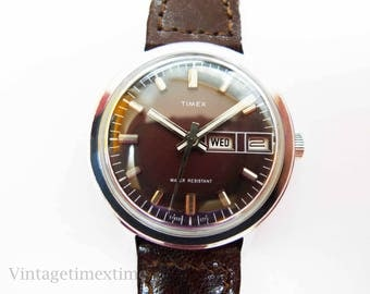 Timex Mercury Men's Watch 1973 Purple Dial With Day & Date Window Manual Wind Movement