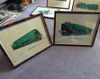 Two framed art prints railway locomotive Prescott Pickup Ltd
