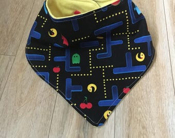 Pacman baby bib, modern baby bib, bandana bib, bibdana