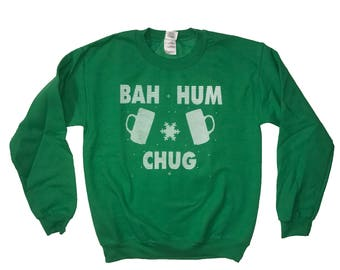 sweatshirt bah hum chug ugly christmas sweater design shirt funny holiday beer drinking present gift idea for him her stocking stuffer cute