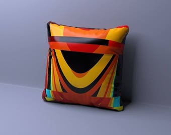 Red orange geometric ikat decorative pillow cover