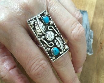 Turquoise Nature Inspired Ring Sterling Silver Navajo