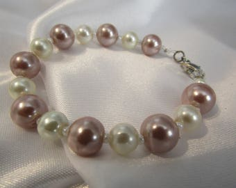 Gold and White Pearl Bracelet