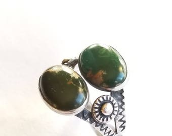 Vintage Sterling Silver and Turquoise Ring Fred Harvey Era Size 5-3/4
