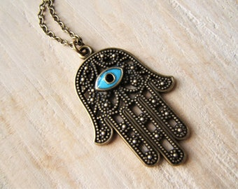 Hamsa Hand/ Fatima necklace. Bue evil eye. Protection from the Evil Eye. Antique Bronze necklace.