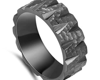 Custom Asteroid Black Zirconium Ring
