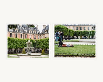 """Paris, France Travel Photography, """"Nap on the Grass, Place des Vosges"""", Set of 2 Fine Art Prints, Gallery Wall, Home Decor, Gift"""