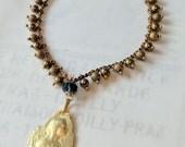 Bracelet - Blessed Virgin Mary 18K Gold Vermeil - Genuine London Blue Topaz + Parisian Chain