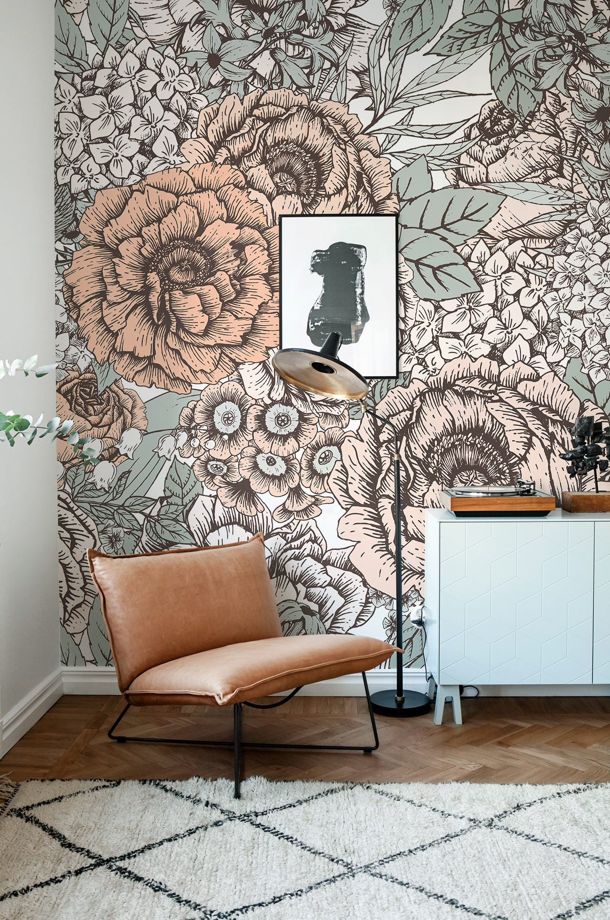 Vintage floral wallpaper wall mural floral home dcor zoom amipublicfo Gallery