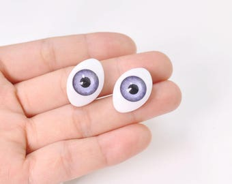 15pair large Purple Eyeball Cabochons,Oval Doll Eyes Plastic,Eyes Craft,Eyes Flat Back,doll eyes supplies - 23x16mm