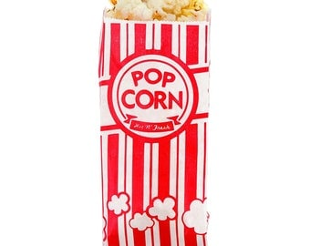 Pack Of 24 - 10.8 x 5.6 x 1.7 inch - Red & White Circus - Carnival Paper Popcorn Bags - Get Your Fresh Popcorn Here!