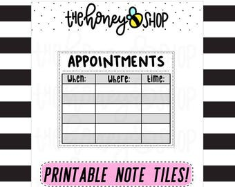 Appointments | PRINTABLE NOTE TILE