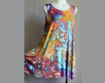 Tie dye tunic sleeveless tank top rayon ice dye boho indie festival fashion style summer - Size Large - Carnival crinkle