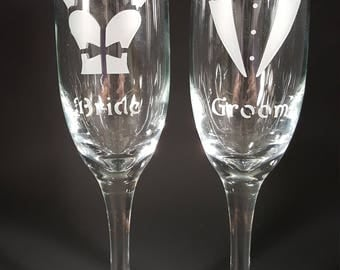Custom Etched Wedding Flutes for weddings, anniversaries, couples toasting,for any special occassion sandblasted by DESIGNS BY SCHWARTZ